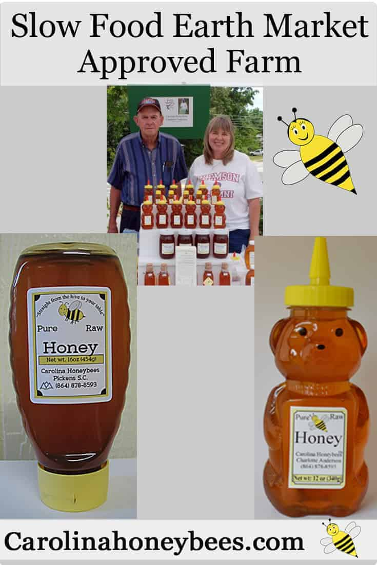 Slow Food Earth Market approved farm. Clean, Good, Fair Carolina Honeybees Farm