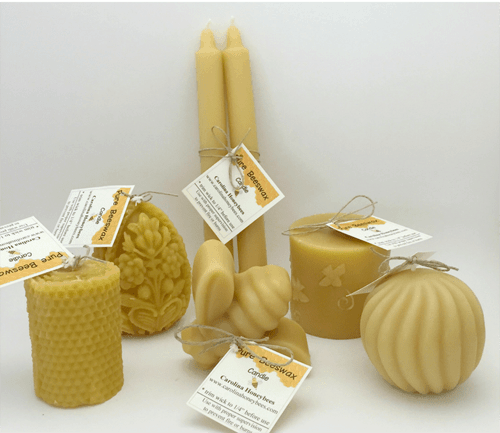 beeswax candles ready for gift giving