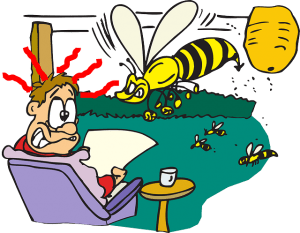 yellow jacket wasp at picnic cartoon