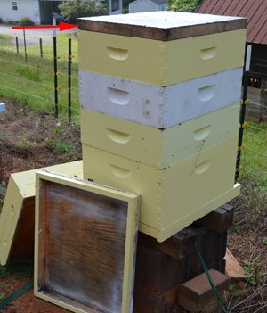 Beehive boxes with a fume board on top