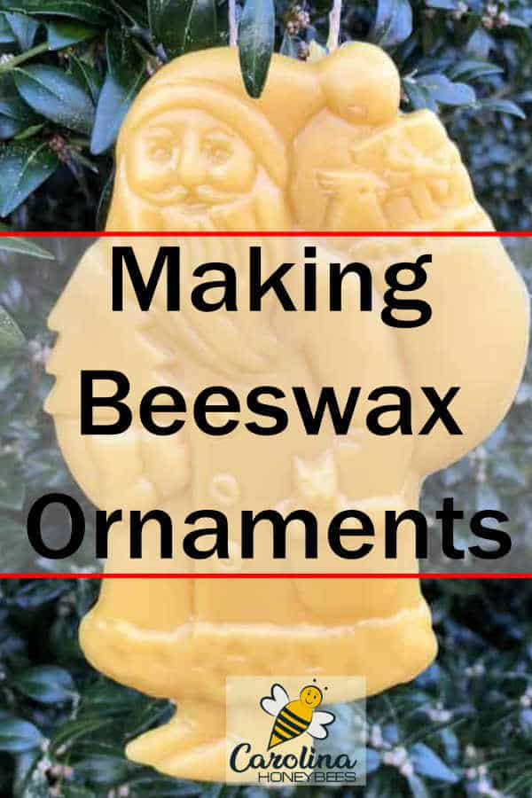 beeswax santa christmas ornament hanging on tree