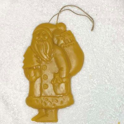 picture of Santa ornament made from beeswax