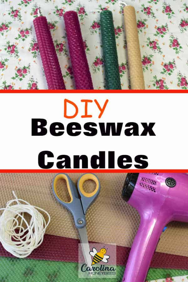 DIY Rolled Beeswax Candles made from beeswax sheets