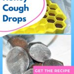 picture of homemade honey cough drops coated with sugar and recipe in a mold - diy honey cough drops