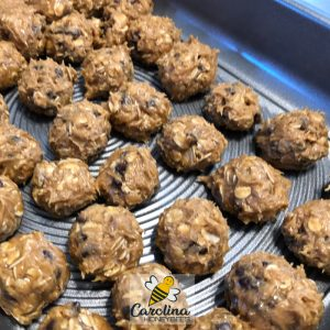 honey, oatmeal and peanut butter bites in pan