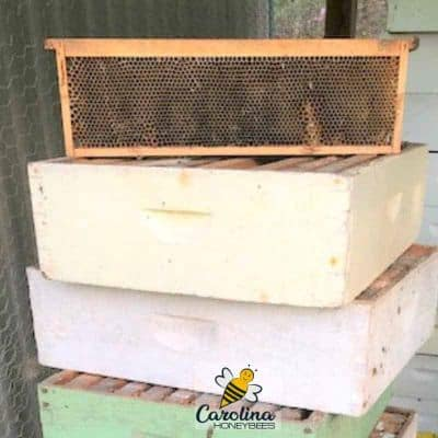 picture of storing honey supers stacked criss cross