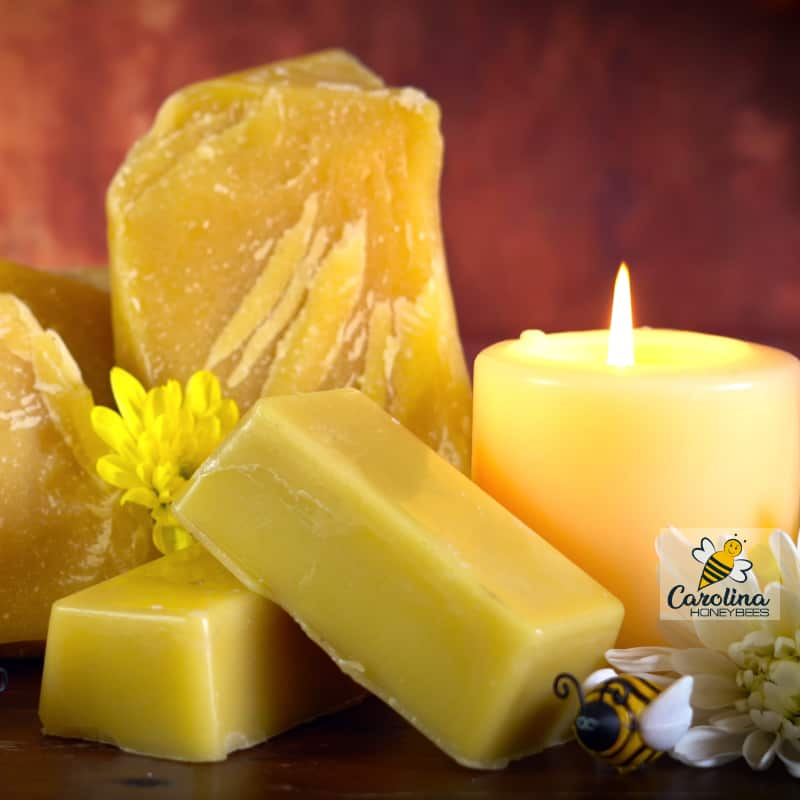 chunks of beeswax, candle and blocks - beeswax uses