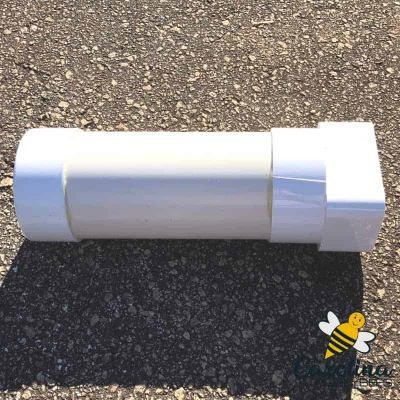Finished white pvc pollen feeder with cap and end spout