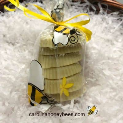 Homemade wax melts made with beeswax in a gift bag image.