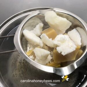 Melting wax and oils for beeswax melt recipe image.