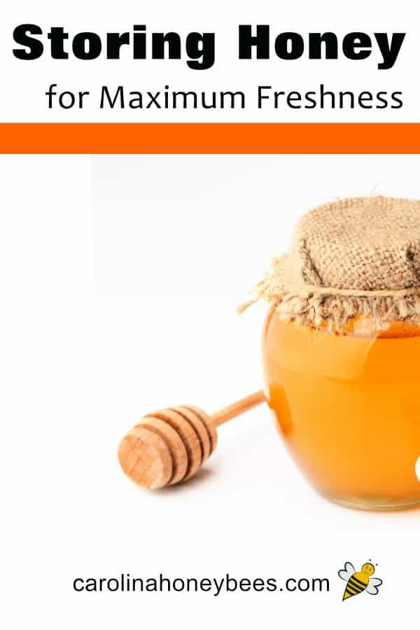 jar of hone with dipper - storing honey for maximum freshness