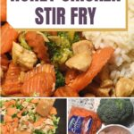 image with honey chicken stir fry recipe including chicken carrots and broccoli