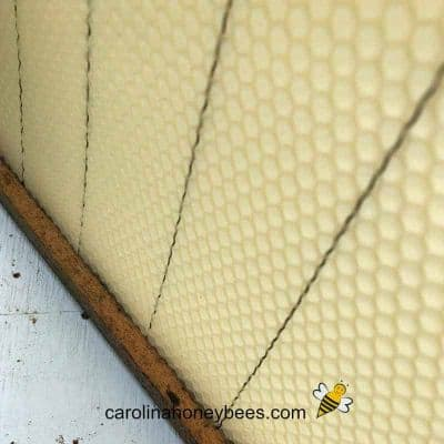 Beeswax foundation sheet inserted into bottom bar of frame image.