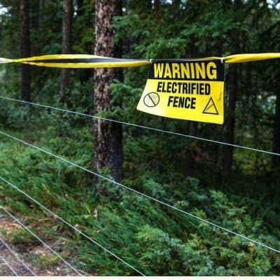electric bear fence with warning sign