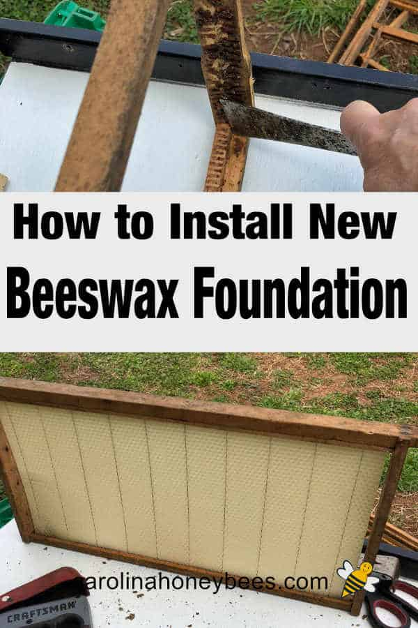 Bee hive frame with wax foundation - how to install beeswax foundation