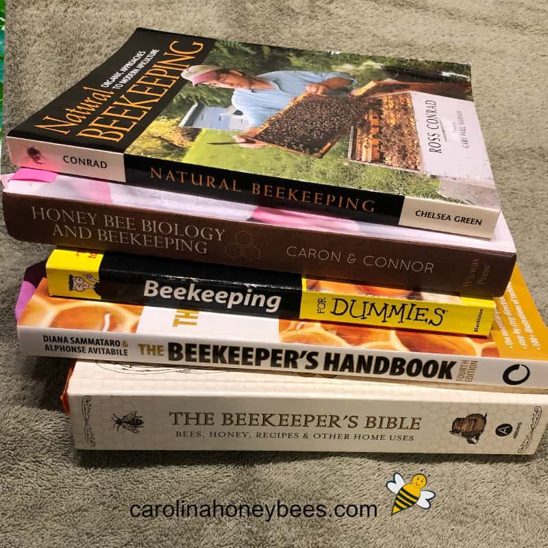 stack of beekeeping books