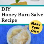 picture of ingredients to make honey burn salve with aloe gel