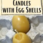 picture of 2 beeswax candles egg shaped