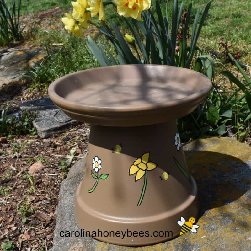 terra cotta pot bee water station
