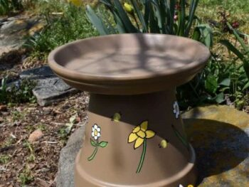 picture of a diy bee watering station made from a clay pot
