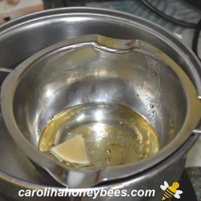 picture of melting beeswax in a small double boiler