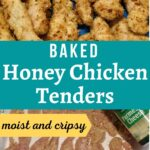 image of golden baked honey chicken tenders in a pan