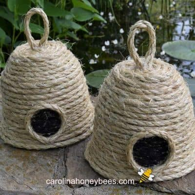 A pair of bee skep crafts handmade image.