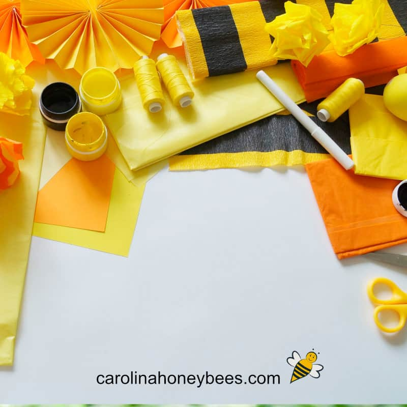 colorful yellow and orange supplies for bee crafts