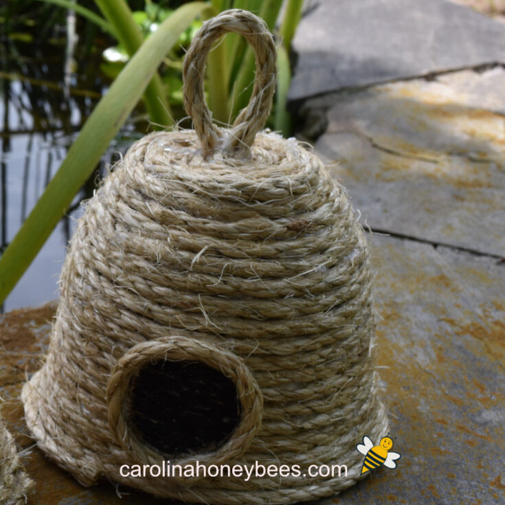 finished bee skep craft at pond