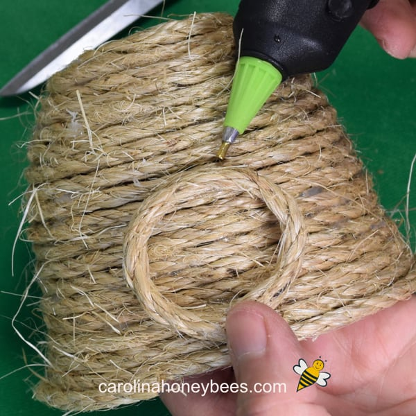 gluing jute ring to skep project