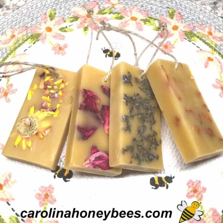 set of 6 herbal wax sachets on placemat