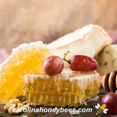 Piece of honey comb with fruit image.