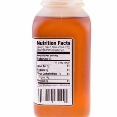 nutrition label on honey jar