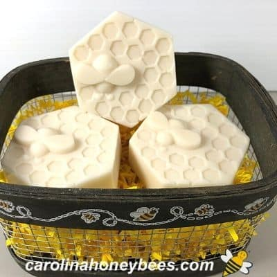 bee basket with goat milk & honey DIY soap bars