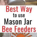 jar feeder with holes in lid and on front of hive - best way to use mason jar bee feeders