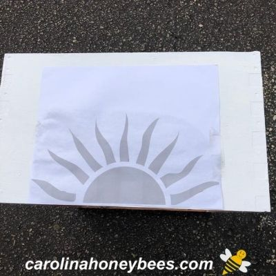 sun hive design print taped on box front