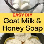 goat milk soap base cubes in glass cup and finished soap - easy diy goat milk & honey soap