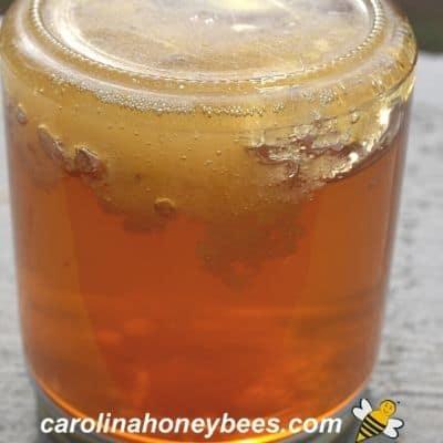 jar with crystallized honey