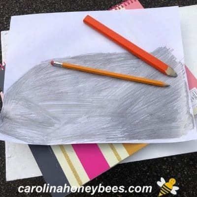 Back of a beehive design sheet coated with pencil lead image.
