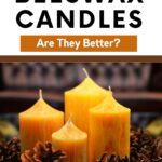 picture of burning beeswax candle pillars with pine cones, benefits of beeswax candles