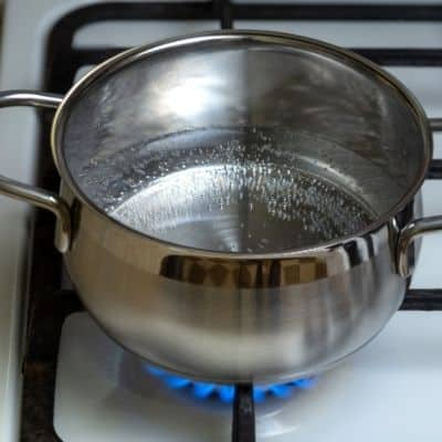 picture of water heating in a pot