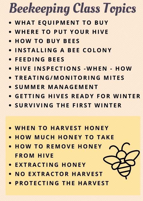 beekeeping class topic list