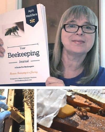 master beekeeper charlotte anderson with Your Beekeeping Journal and various beekeeping pictures