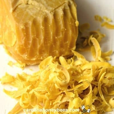 picture of block of beeswax shavings