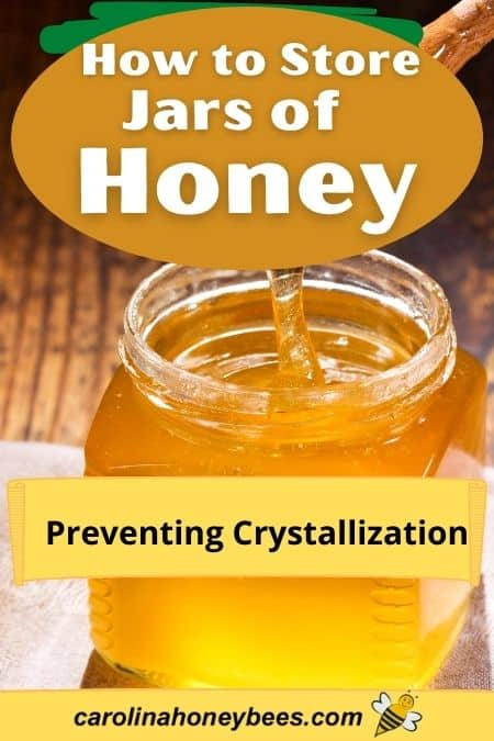 raw honey pouring into a jar - how to store jars of honey preventing crystallizaiton