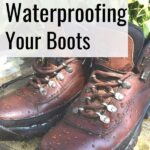 hiking boots with water beaded on surface - diy beeswax waterproofing your boots