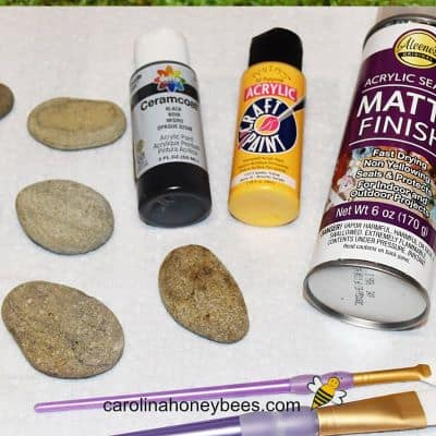 rocks, paint, brushes and sealer for rock painting image.