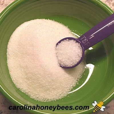 mixing sugar and salt for almond coating