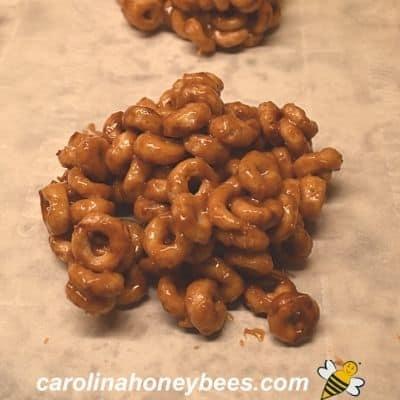 single honey peanut butter bite on counter