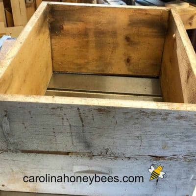 picture of used empty hive body an ideal candidate for making a bait hive